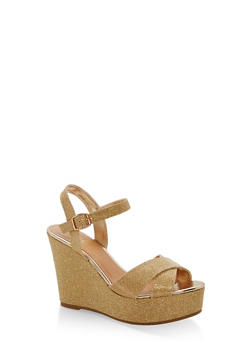 Glitter Wedge Sandals - GOLD GLITTER - 1110004062490