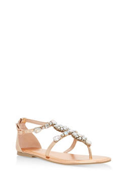 Rhinestone Ankle Strap Thong Sandals - ROSE GOLD MWP - 1110004062533