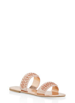 Double Band Jeweled Slide Sandals - ROSE GOLD CRP - 1110004062539