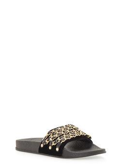 Velvet Chain Link Strap Slide On Sandals - BLACK VELVET - 1110004062600