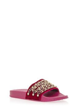 Velvet Chain Link Strap Slide On Sandals - FUCHSIA VELVET - 1110004062600