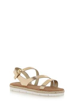 Strappy Sandals with Raffia Trim - 1110004062646
