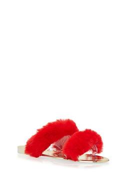 Two Band Faux Fur Slide Sandals - 1110004063257