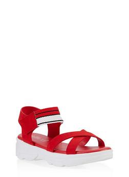 Striped Velcro Strap Sporty Sandals - 1110004063767