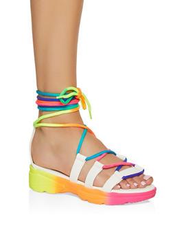 Sporty Lace Up Platform Sandals - WHITE - 1110004063769
