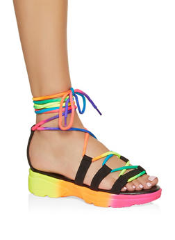Sporty Lace Up Platform Sandals - 1110004063769
