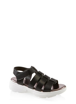 Caged Sporty Platform Sandals - BLACK - 1110004063771