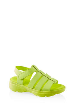 Caged Sporty Platform Sandals - NEON YELLOW - 1110004063771