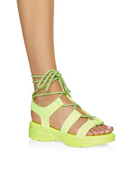 Lace Up Sporty Platform Sandals - 1110004063772
