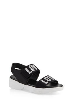 Sporty Love Band Sandals - 1110004063773