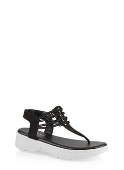 Sporty Corded Thong Sandals - BLACK SUEDE - 1110004063781