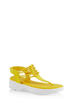 Sporty Corded Thong Sandals - YELLOW S - 1110004063781