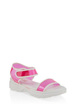 Two Band Platform Sandals - NEON PINK - 1110004063783