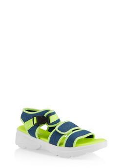 Contrast Trim Sporty Platform Sandals - 1110004063786