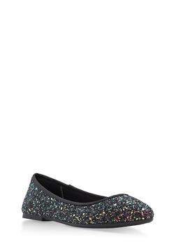 Pointed Toe Skimmer Flats - BLACK GLITTER - 1110004064665