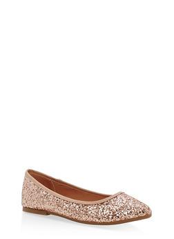 Pointed Toe Skimmer Flats - ROSE GOLD GLITTER - 1110004064665
