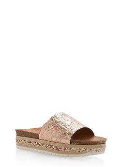 Single Strap Glitter Wedge Sandals - ROSE GOLD PU - 1110004065230