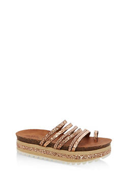 Braided Glitter Strappy Platform Sandals - ROSE GOLD MULTI - 1110004065232