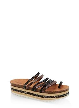 Braided Glitter Strappy Platform Sandals - 1110004065232