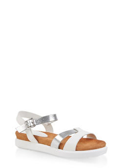 Two Tone Footbed Ankle Strap Sandals - WHITE - 1110004065455