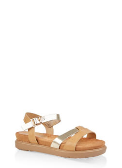 Two Tone Footbed Ankle Strap Sandals - NATURAL - 1110004065455