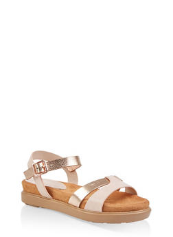 Two Tone Footbed Ankle Strap Sandals - BLUSH - 1110004065455