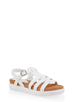 Strappy Faux Leather Sandals - WHITE - 1110004065456