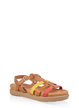 Strappy Faux Leather Sandals - 1110004065456