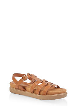 Strappy Faux Leather Sandals - TAN - 1110004065456