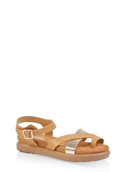 Toe Ring Footbed Sandals - NATURAL - 1110004065457
