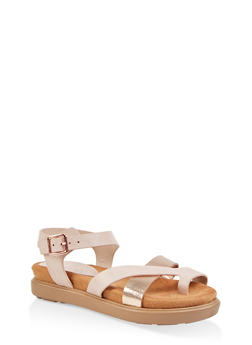 Toe Ring Footbed Sandals - BLUSH - 1110004065457
