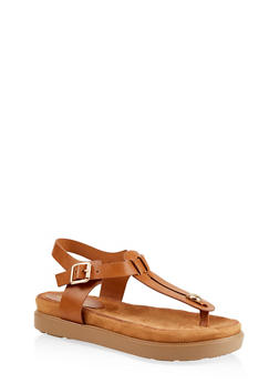 Cut Out Thong Footbed Sandals - 1110004065458