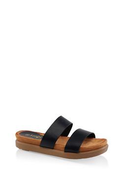Printed Double Strap Slide Sandals - BLACK - 1110004065460