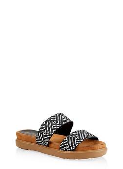 Printed Double Strap Slide Sandals - BLACK/WHITE - 1110004065460