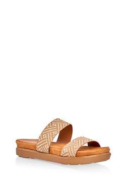 Printed Double Strap Slide Sandals - CAMEL - 1110004065460