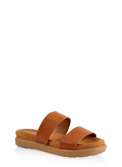 Printed Double Strap Slide Sandals - TAN - 1110004065460