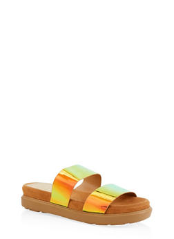 Double Strap Slide Sandals | 1110004065460 - GREEN - 1110004065460