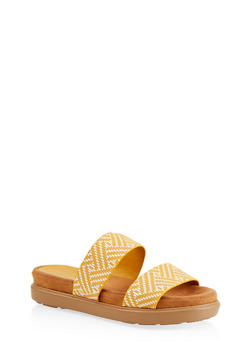 Double Strap Slide Sandals | 1110004065460 - YELLOW - 1110004065460