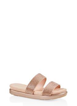 Rhinestone Studded Slide Sandals - BLUSH - 1110004065461