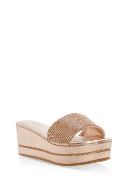 Rhinestone Platform Wedge Slide Sandals - ROSE GOLD CRP - 1110004065692