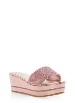 Rhinestone Platform Wedge Slide Sandals - PINK CRP - 1110004065692