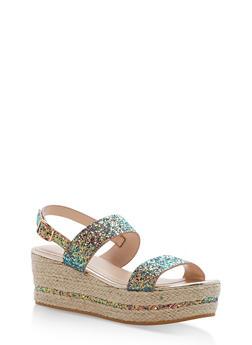Espadrille Platform Sandals with Glitter Straps - 1110004065693