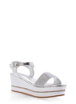 Mesh Strap Platform Wedge Sandals - 1110004065694