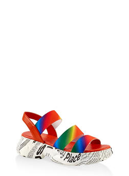 Triple Band Slingback Platform Sandals - MULTI COLOR - 1110004065868