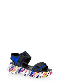 Two Band Sporty Platform Sandals - ELECTRIC BLUE - 1110004065869