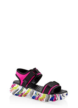 Two Band Sporty Platform Sandals - NEON PINK - 1110004065869