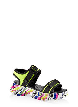 Two Band Sporty Platform Sandals - NEON YELLOW - 1110004065869