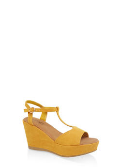 T Strap Platform Wedge Sandals - YELLOW - 1110004065899