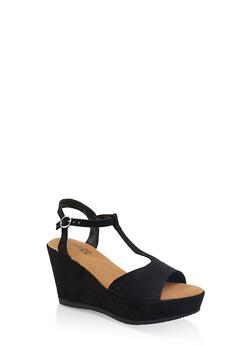 T Strap Platform Wedge Sandals - 1110004065899