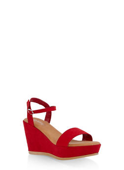 Faux Suede Ankle Strap Wedge Sandals - RED S - 1110004065901